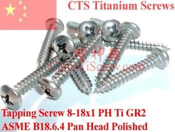 Titanium screws 8x1 Pan Head Self Tapping Polished 50 pcs Ti GR2