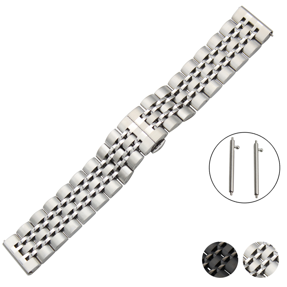 Stainless Steel Watch Band 20mm 22mm for Diesel Quick Release Strap Butterfly Buckle Wrist Belt Bracelet Black White + Tool ceramic watch band 20mm 22mm for diesel butterfly buckle strap wrist belt bracelet black silver spring bar tool