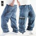 Большой размер Бесплатная доставка скейтборд брюки хип-хоп хип-хоп джинсы хип-хоп джинсы мужские свободные джинсовые брюки мыть камень