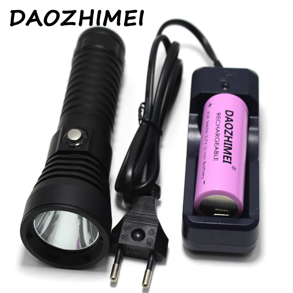 Diving Flashlight 5000LM Underwater Torch XM-L2 LED Waterproof Lamp White Light + 26650 Battery + Charger