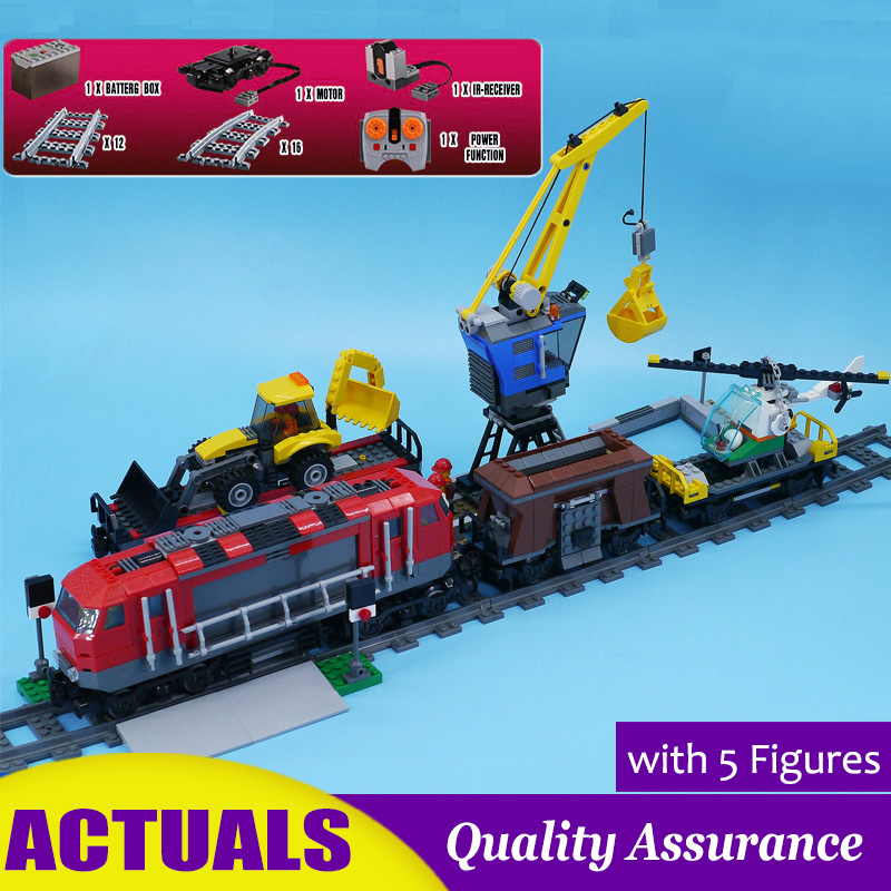 RC Heavy Haul Cargo Train 02009 60098 City Railway Building Blocks Crane Helicopter Rail Model Bricks