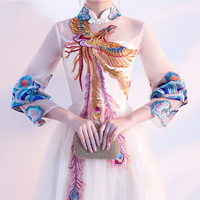 2018 New Cheongsam Summer Long Chinese Style Vintage Phoenix Embroidered Dress.