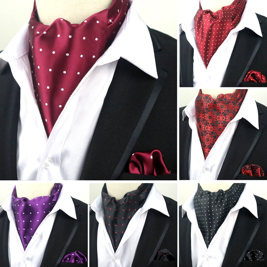 LJT 04-06 Men's Vintage 100% Silk Ascot Cravat Tie & Handkerchief  Set Polka Dots Pocket Square Tie Sets For Wedding Party