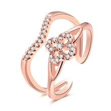 JEXXI Einstellbare Frauen Blume Cocktail Ringe Für Kleid Ball Weißes Gold Überzogen Oder Rose Gold Überzogene Ring Kristall Dekoration