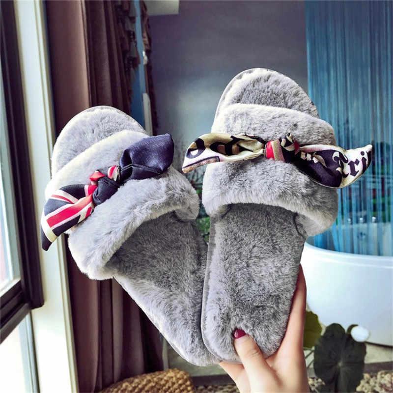 COOTELILI Mùa Đông Thời Trang Phụ Nữ Dép Đi Trong Nhà Ấm Giày Phụ Nữ Trượt on Flats Lụa Bowtie Ladies Fur Slide Cộng Với Kích Thước bán buôn