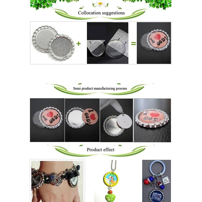 Round Flash Epoxy Adhesive Circles Bottle Cap Stickers 100pcs Patch Dots Caps