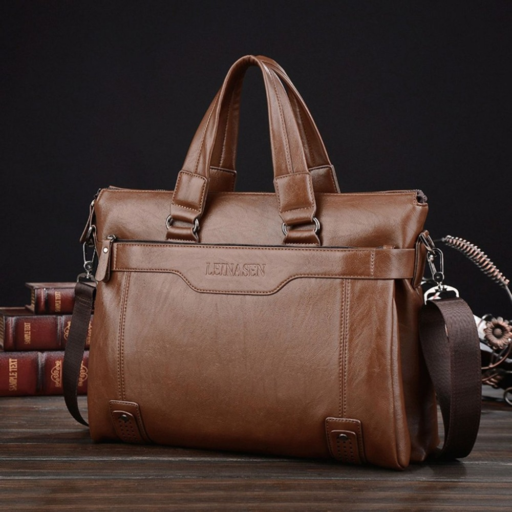 Classic Men Briefcase Business Style Male Single Shoulder Bag Large Capacity Messenger Bags Computer Laptop Handbag Bag new high quality male leather men laptop briefcase bag 14 inch computer bags handbag business bag single shoulder business bags