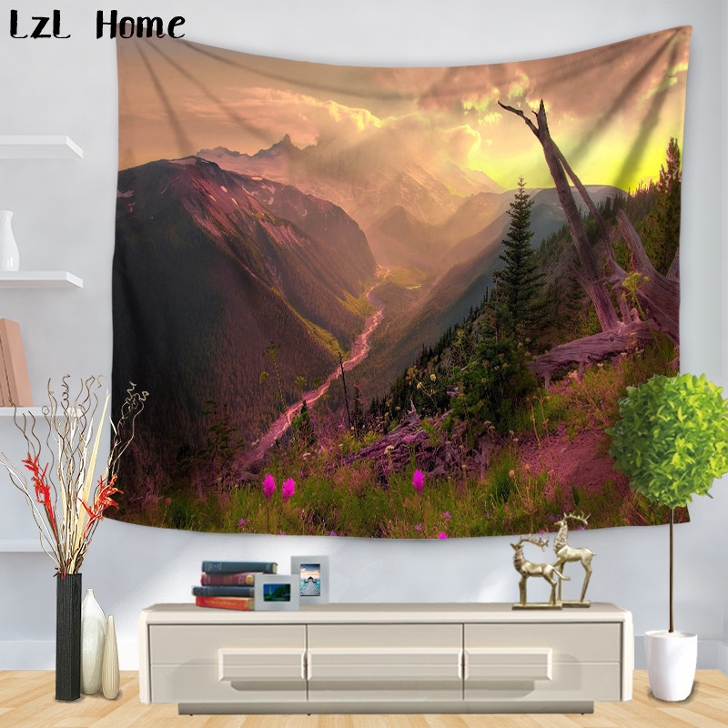 LzL Home Clean Lake Beautiful Flower Tapestry Tapices De Pared Wall Hanging Retro Home Decor Yoga Mat Picnic Cloth Arazzo Indian