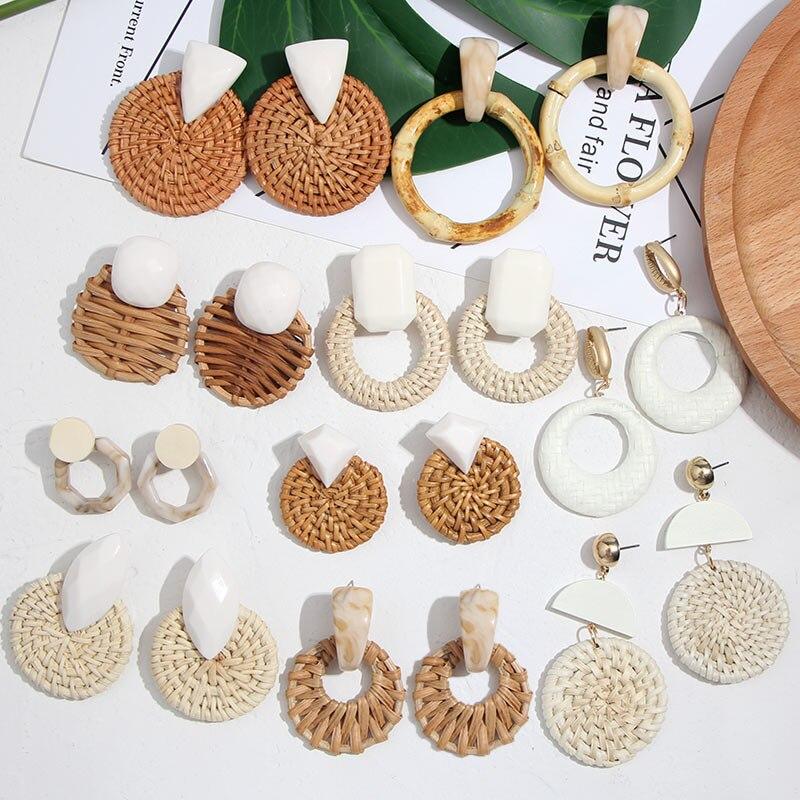 Flatfoosie New Korea Round Drop Earrings for Women Natural Geometric Wooden Bamboo Straw Weave Rattan Knit Vine Beach Earring