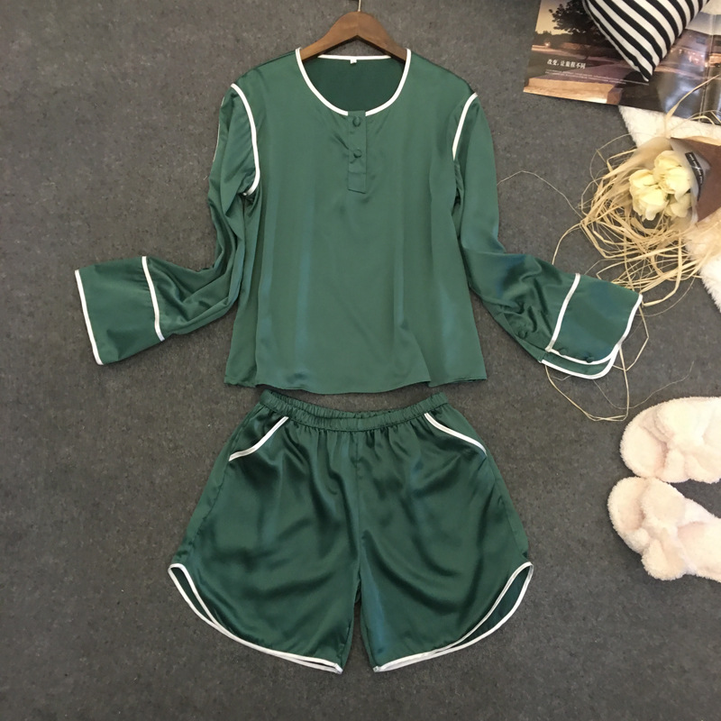 Provided Silk Women Nightwear Long Sleeve Blouse And Short Shorts 2 Pieces Sleepwear Female Summer Sexy Pajama Set Men's Sleep & Lounge