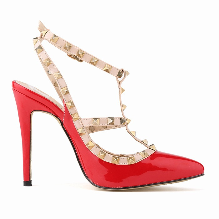 ФОТО 2015 Summer Women Fashion High Heel T-Strap Buckle Strap Rivets Patent Leather Party Leisure  Plain Solid Thin Heels Sandals