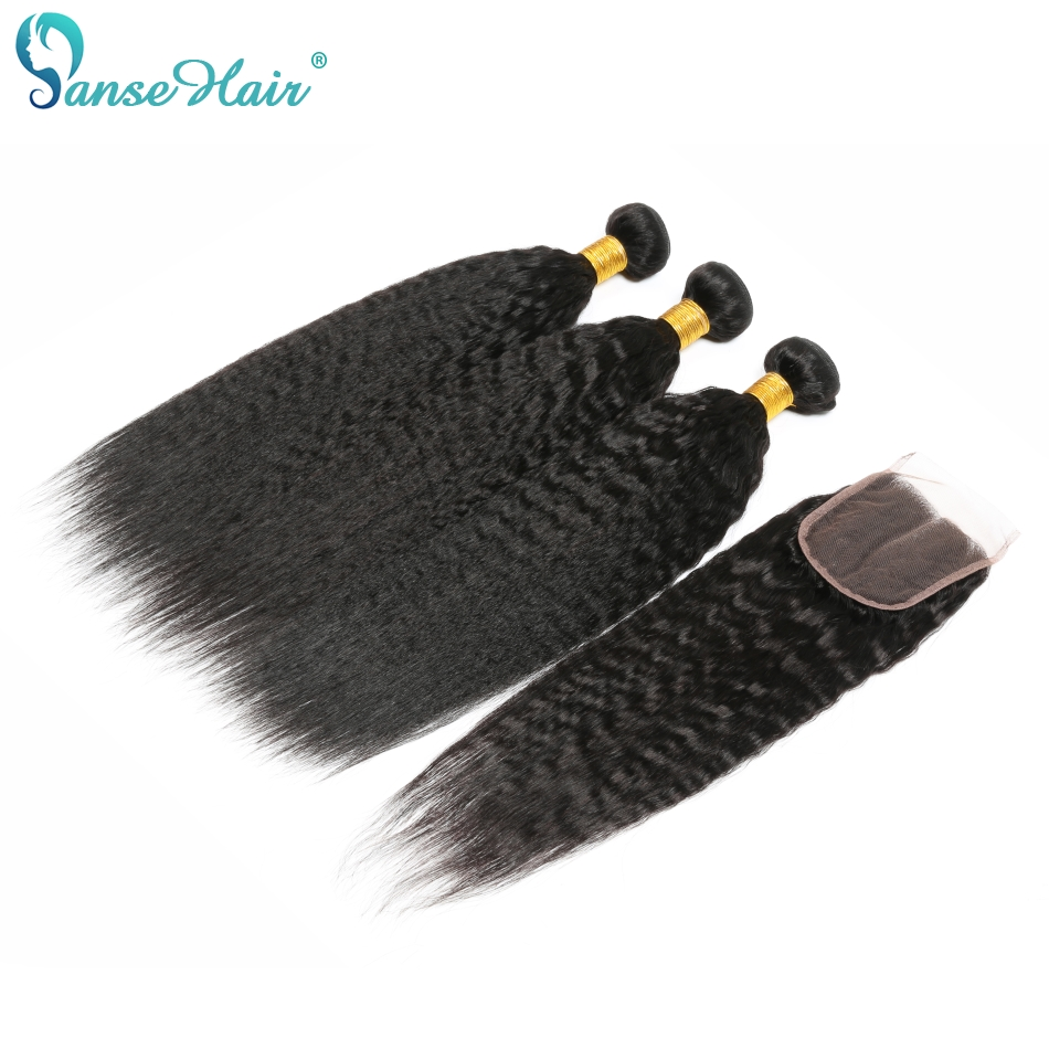 Panse Hair Malaysian Hair Weave Bundles Kinky Straight 3 Human Hair Bundles With Closure 4 Pcs 1 Lot Non-Remy Hair Coarse Yaki