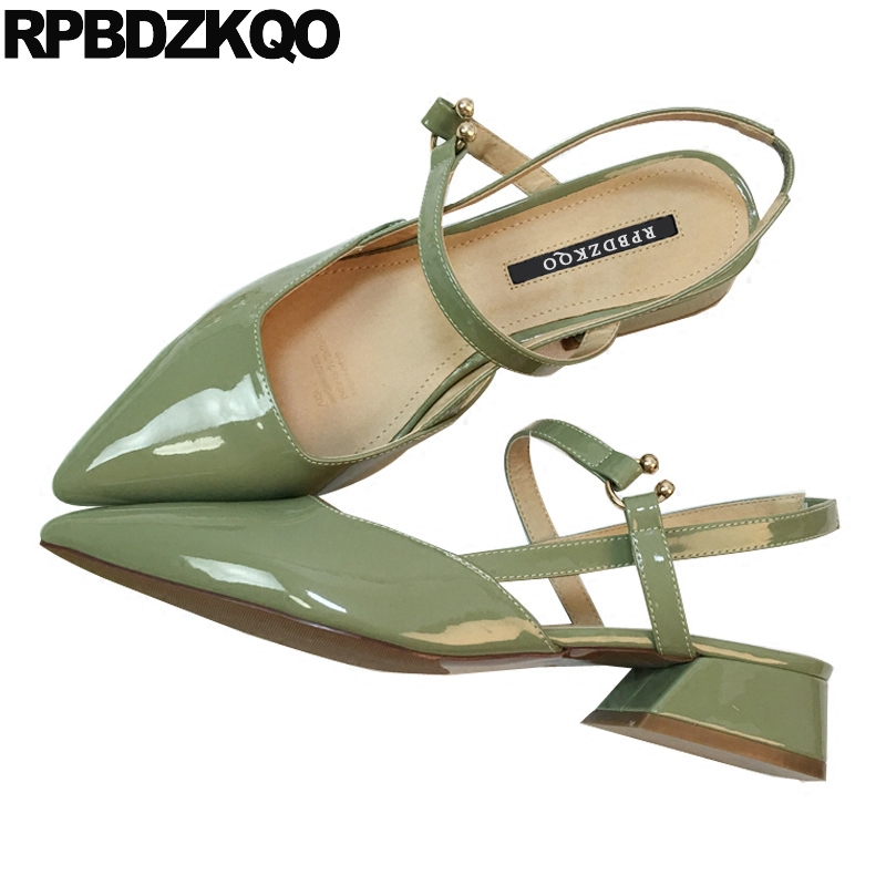 Sandals Low Heels Summer Shoes Mary Jane Patent Leather Women High Strap Thick Slingback Green Pumps Dress Pointed Toe Sweet krazing pot new fashion brand shoes patent leather square toe preppy style low heel sweet ankle strap women pumps mary jane shoe
