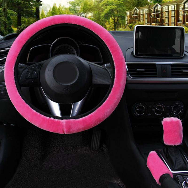 Car Steering Wheel Cover Gearshift Handbrake Cover Protector Decoration Warm Super Thick Plush Collar Soft Black Pink Women Man