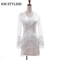 2018 Spring New Luxury Ladies Temperament White Fringed Lace Stitching Tassel Long Sleeved Dress S M