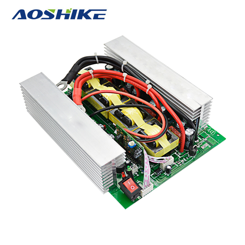 Aoshike 1200W Solar Power Car Inverter Board DC 12V to AC 220V Modified Sine Wave Power Supply Inverter with Heat Sink 100w 12v monocrystalline solar panel for 12v battery rv boat car home solar power