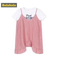 6ef0beb036 Balabala Filles Faux Deux Pièce Graphique T-shirt + Sans Manches Rayé Robe  avec Évasée
