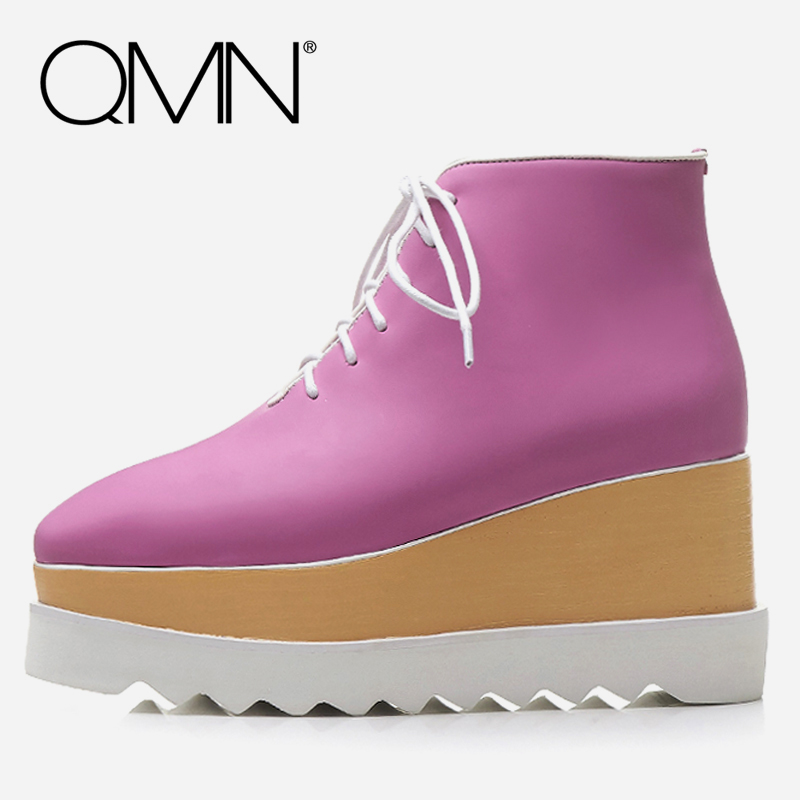 QMN women genuine leather ankle boots for Women Basic Platform Boots Brogue Shoes Woman Wedges Boots Botas Mujer Size 34-42 qmn women snake effect leather brogue shoes women round toe platform oxfords shoes woman genuine leather casual platform flats