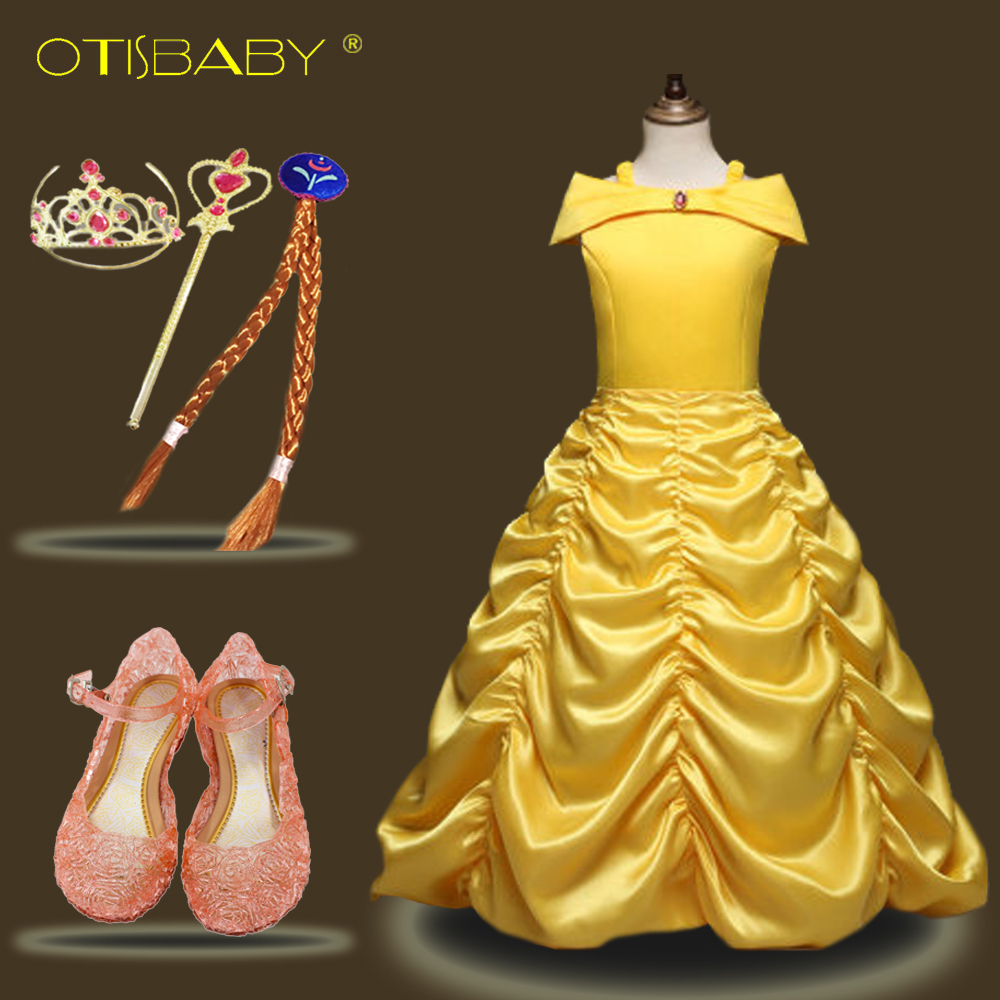 Hot Girls Belle Princess Dresses for Carnival Party Fancy Kids Beauty and the Beast Costumes Children Yellow Festival Ball Gown nnw beauty and the beast belle cosplay princess fancy kids costumes grils yellow dresses with sleeve hight quality