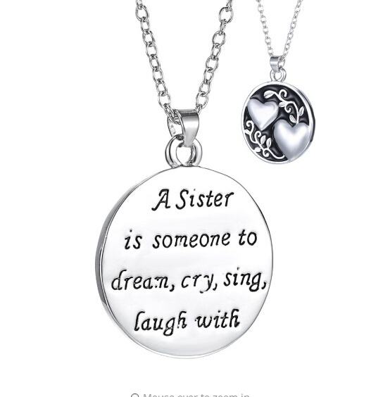 Two Hearts Statement Necklace Best Friends Jewellery A Sister Is Someone To Dream,Cry,Sing,Laugh With Round Pendant Necklaces image