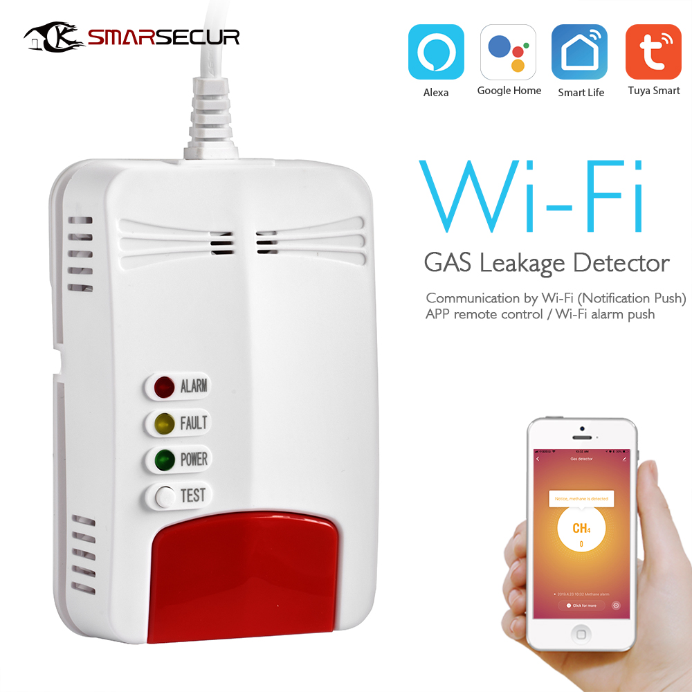 SMARSECUR Wifi GAS Detector Alarm Wi-Fi Natural Leak Combustible Gas Detector For Tuya Smart lifeSMARSECUR Wifi GAS Detector Alarm Wi-Fi Natural Leak Combustible Gas Detector For Tuya Smart life