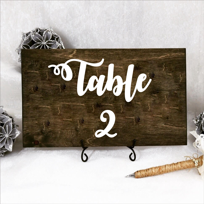 Wedding Table Number Vinyl Decals Removable Waterproof