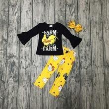 Одежда для маленьких девочек; сезон осень зима; милая детская одежда с рисунком курицы; цвет черный, горчичный; хлопковая одежда с оборками; эксклюзивные аксессуары для детей