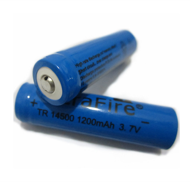 2PCS/LOT EastFire AA 14500 1200mah 3.7 V lithium ion rechargeable batteries and LED flashlight, free delivery