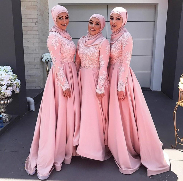 Satin Bridesmaid Dresses 2017 High Neck Long Sleeve Cover Back Floor Length Top Lace Muslim Style
