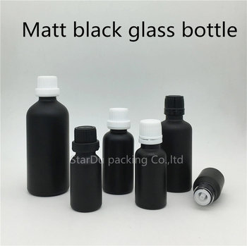 Free Shipping 10ml 15ml 20ml 30ml 50ml 100ml Black Frosted Glass Bottle with tamper evident cap plug Perfume bottle image