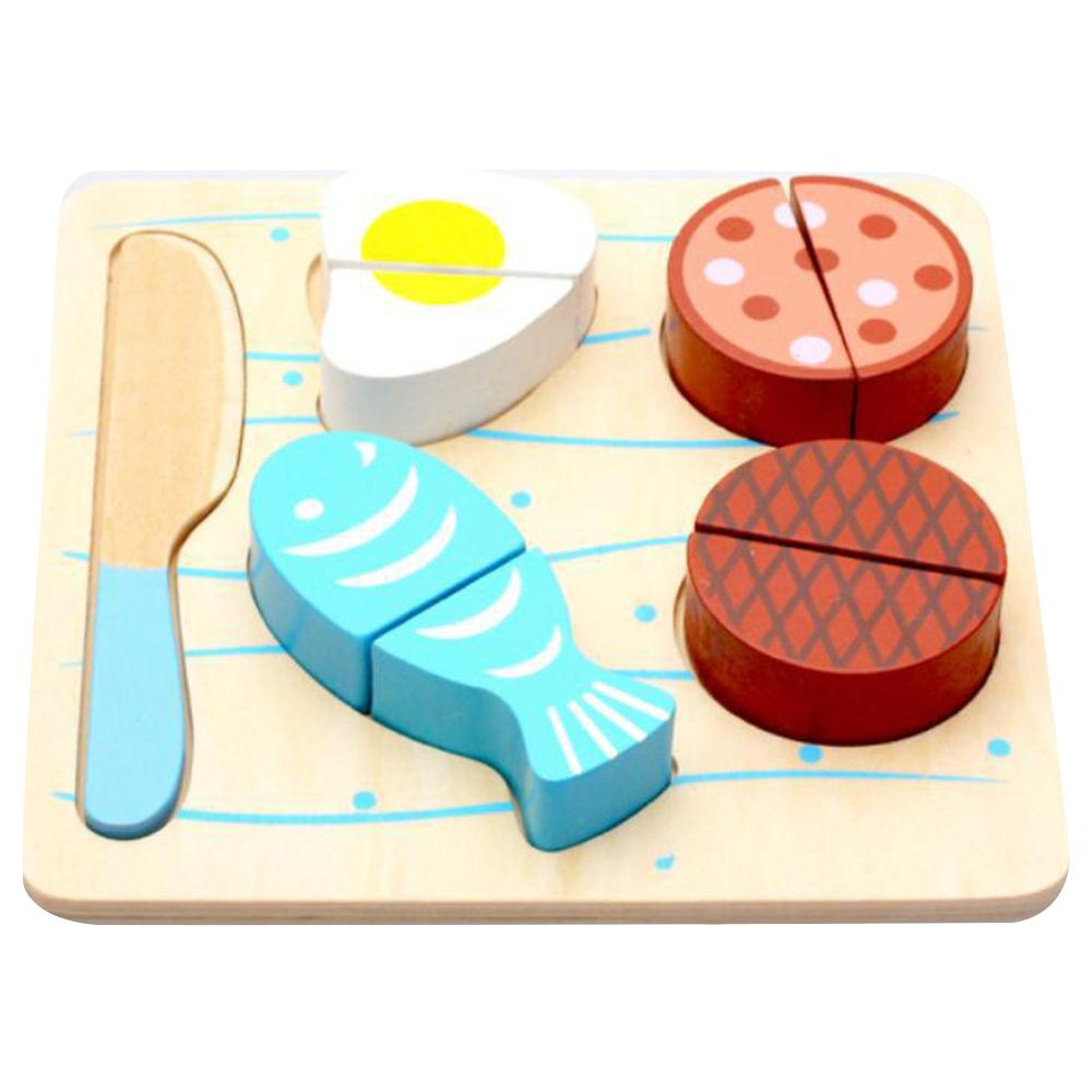 Kids Kitchen Toy Wooden Cutting Fruit Food Pretend Play Toy Children ...