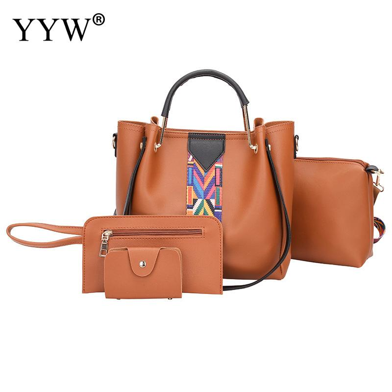 Casual Brown Tote Bags Set Buy 1 Get 4 Women's PU Leather Handbags Brands Lady's Clutch Bag Luxury Women Crossbody Shoulder Bag цена