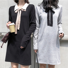 Bowtie Knitted Dress Long Sleeve Harajuku Kawaii Hit Color Black Mini Autumn Sweet Chic Preppy Style Korean Dresses Women