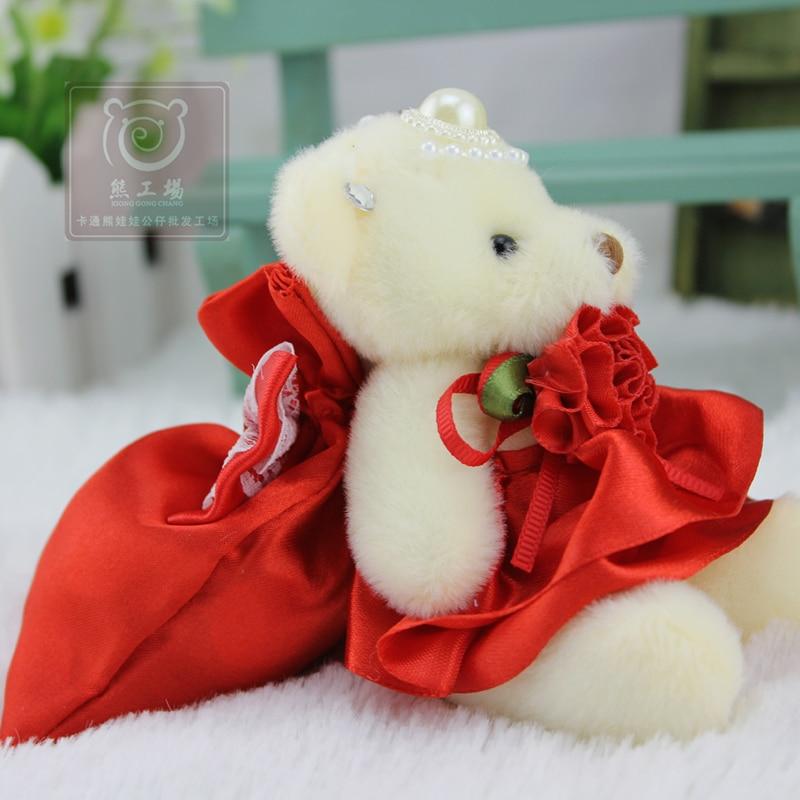 NEW 12 Pcs/lot 12 cm Mini Bear Dolls Plush Stuffed Toys With Candy Bag,Girls Birthday Gift Small Pendant,Stuffed Plush Animals