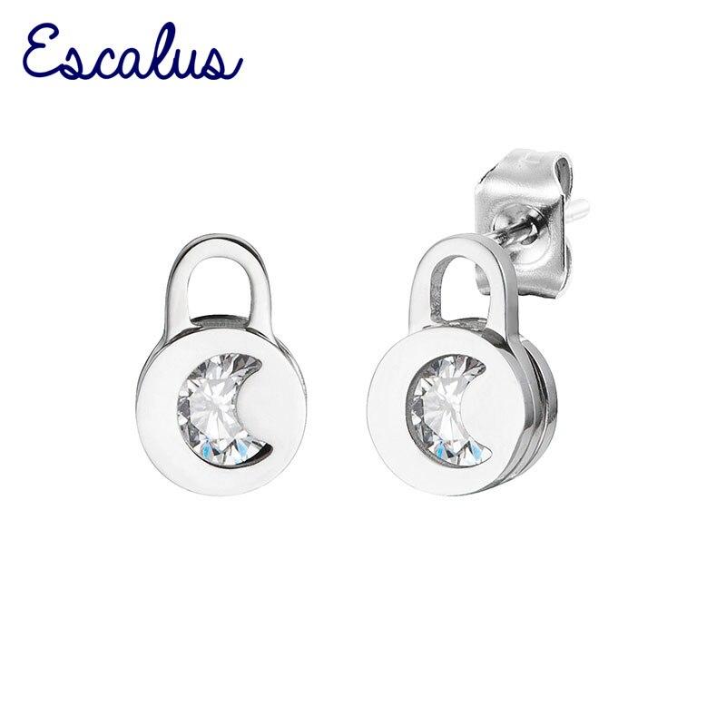 Escalus Punk Style Loves Key Clear Crystal Stud Earrings For Women Wedding Stainless Steel Push-back Earrings Girl Jewelry