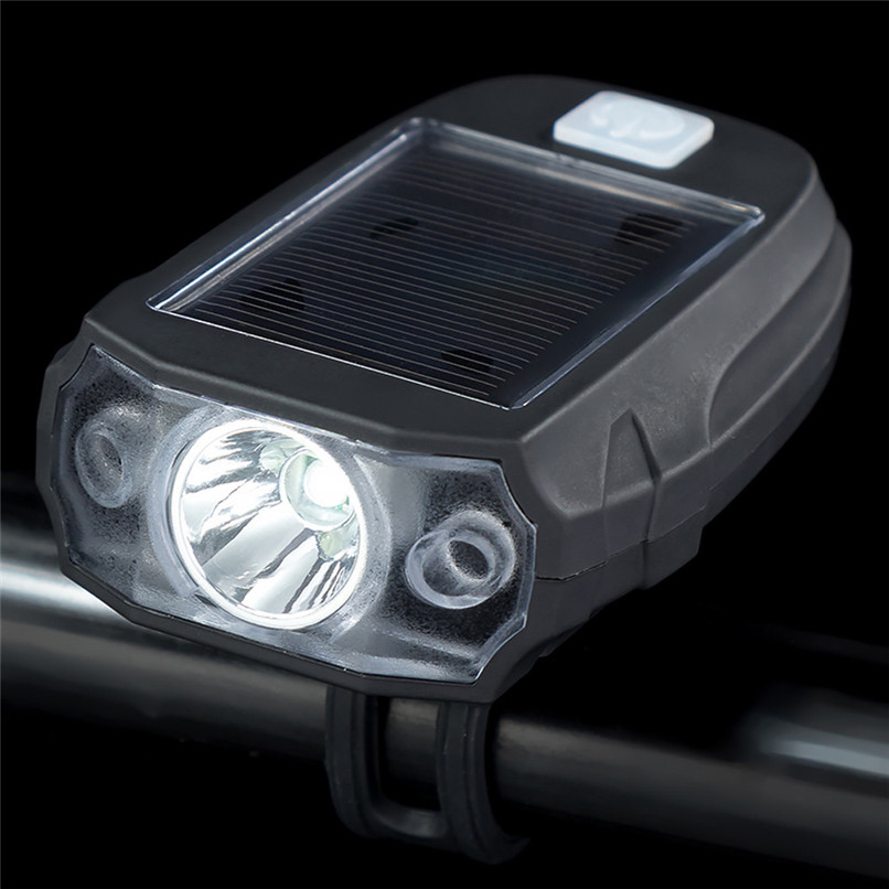 Waterproof Bicycle Solar LED Front Light USB Rechargeable Headlight Lamp USA