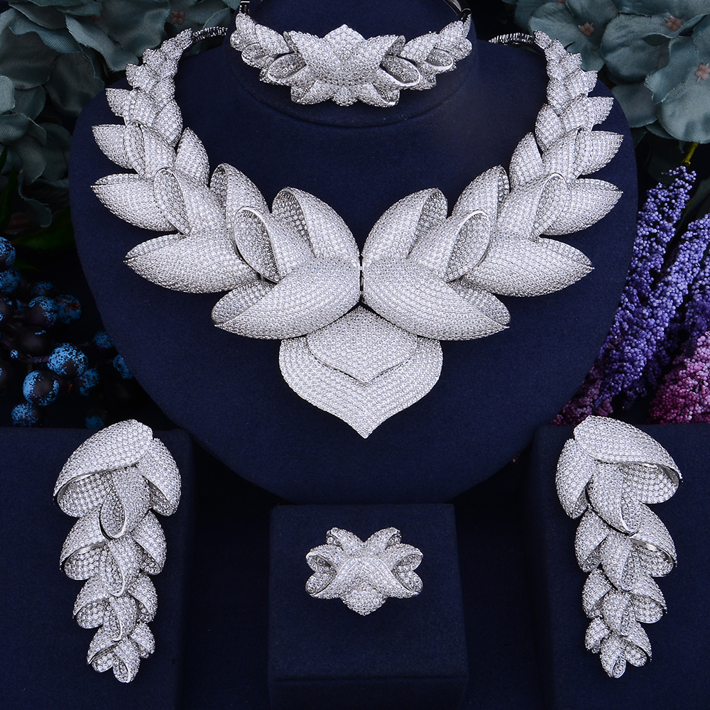 GODKI Luxury Lotus Flower Cubic Zirconia African Indian Necklace Earring Set Dubai Nigerian Wedding jewelry sets