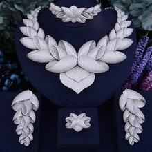 GODKI Роскошный цветок лотоса кубического циркония Африканский индийский Цепочки и ожерелья серьги набор Дубай нигерийские Свадебные украшения наборы для Для женщин невесты
