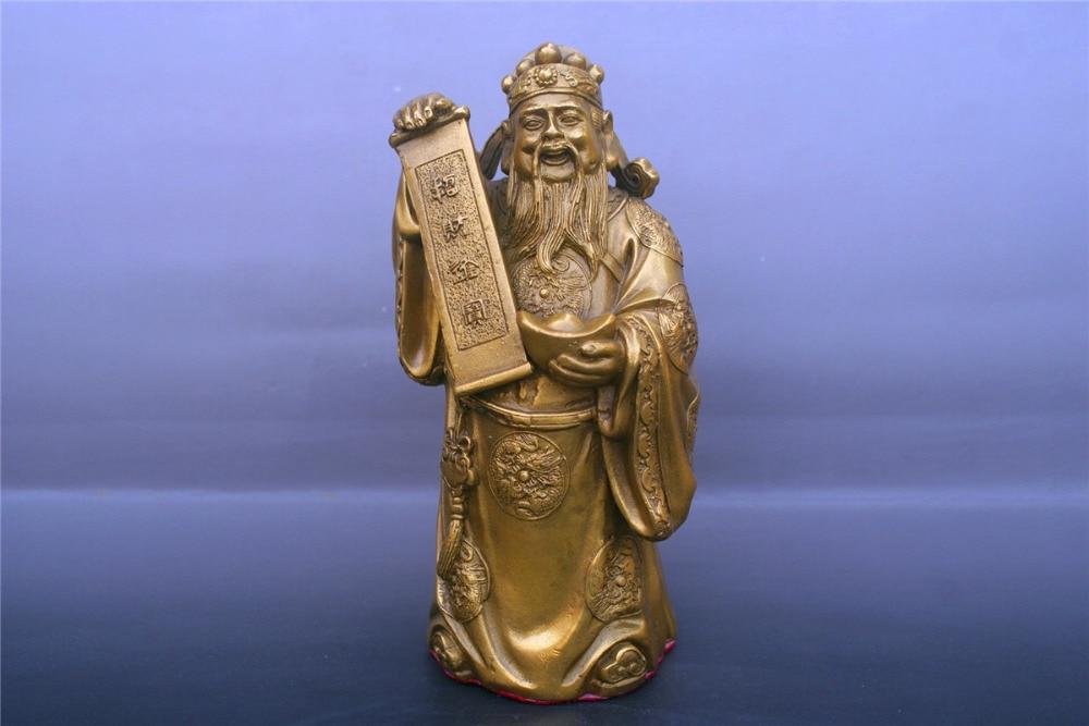 Chinois vieux bronzes dieu de la richesse Statue de cuivreChinois vieux bronzes dieu de la richesse Statue de cuivre