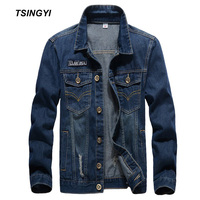Tsingyi Casual Wash Hole Denim Jacket Men Slim Fit Metal Buttons Turn down Collar Long Sleeve Denim Bomber Jackets for Men Coats