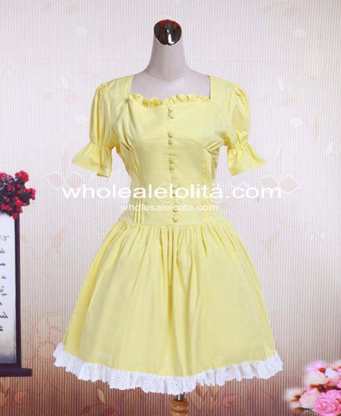 Gelb Square Baumwolle Kleid Lolita Neck Ärmel Einteiliges Spitze Gothic Ballkleid Kurze tshrdQ