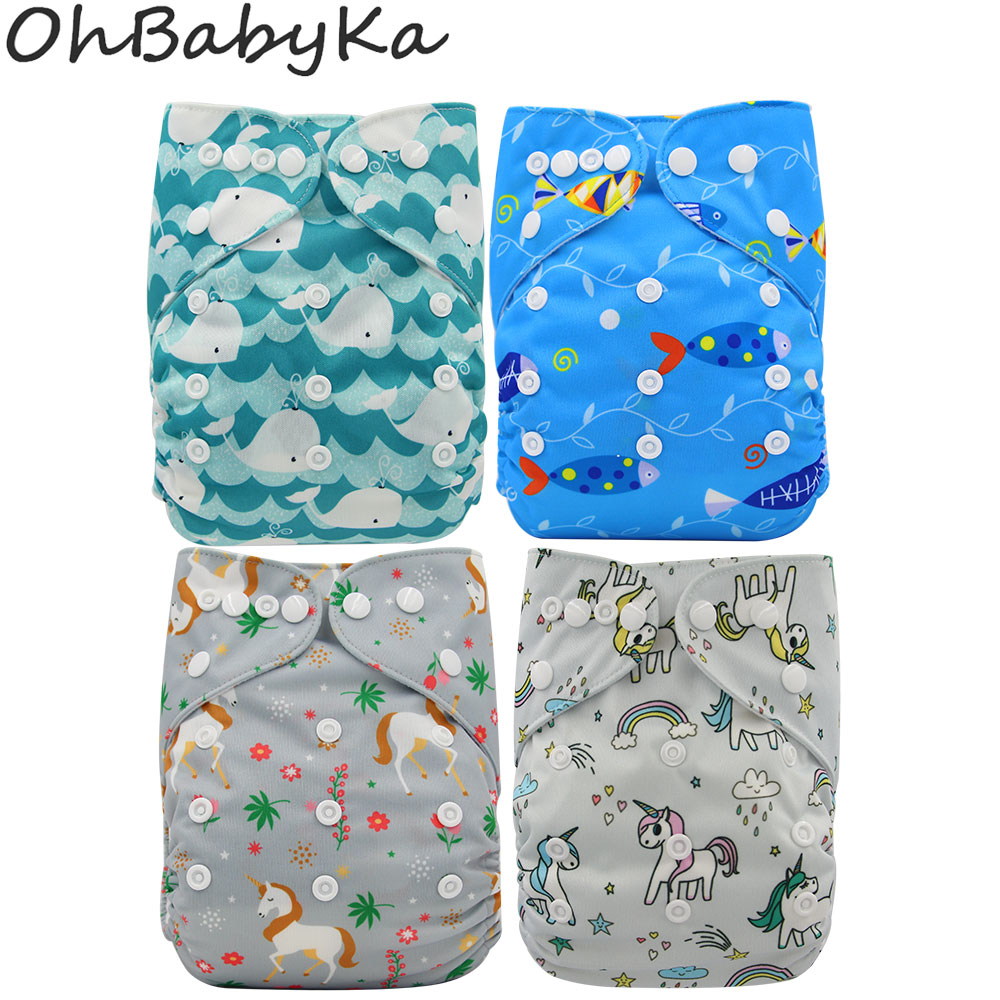 Ohbabyka Baby Cloth Diapers Unicorn Animal Reusable Diaper Cover Washable Infant Baby Pocket Diaper Cover Nappies Baby Care