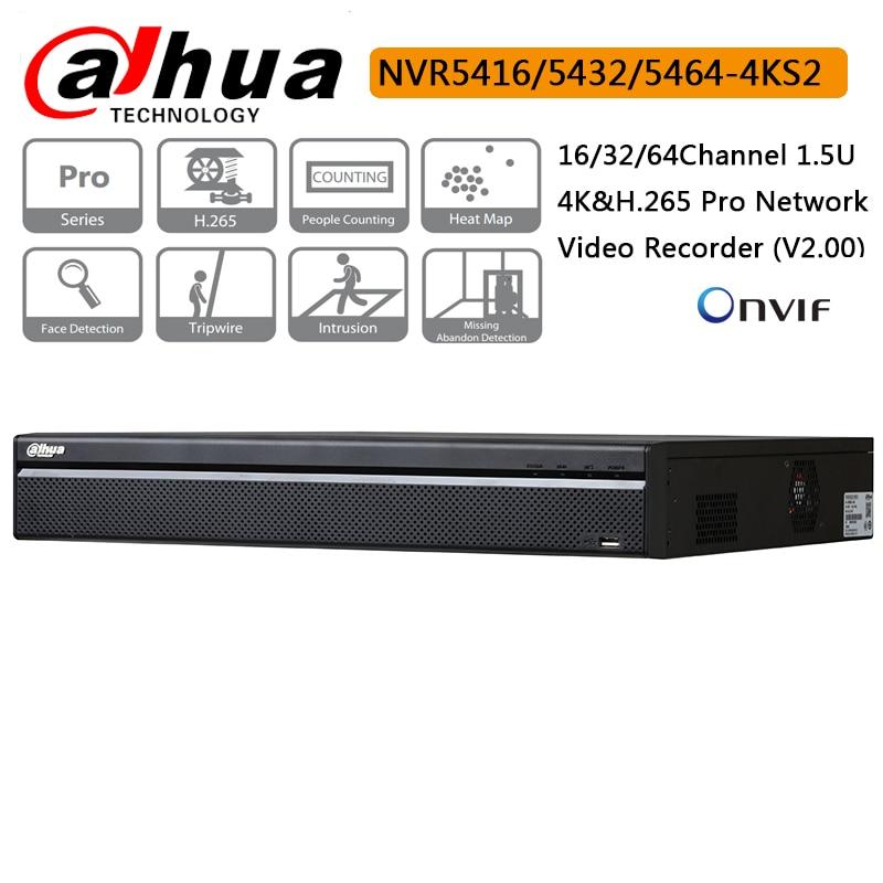 Oryginalny Dahua 16CH 32CH 64CH NVR5416 4KS2 NVR5432 4KS2 NVR5464 4KS2 H.265 Pro, sieciowy rejestrator wideo dla podgląd i odtwarzania w Rejestratory wideo do nadzoru od Bezpieczeństwo i ochrona na  Grupa 1