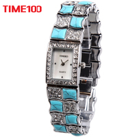 Free Shipping Time100 Luxury Brand Jewelry Clasp Alloy Turquoise Shell Rhinestone Women Quartz Dress Bracelet Watch