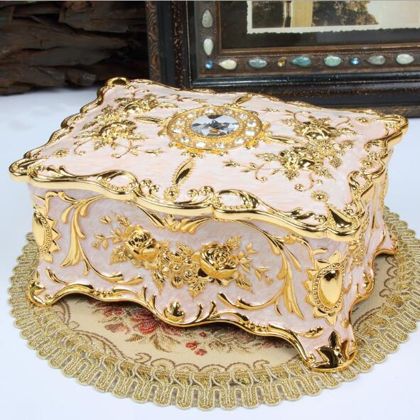Grande taille Vintage fleur sculpté boîte à bijoux multi-couleurs émaillé avec des pierres décor collier pendentif anneaux cadeaux mallette de rangement - 3