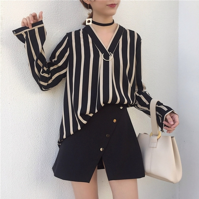 f34bc1dc1fcc 2 Piece Set Women Elegant Long Sleeve Shirt Korean Style Women s Suits 2018  Summer Vintage Short