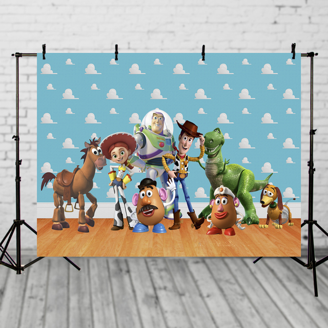 Vinyl Photography Backdrop,Toy Story Clouds Inspired,Birthday Photo Booth BRIGHT CLOUDS,Photography Studio Backdrop Background
