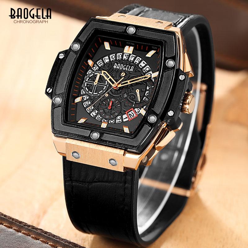 Baogela Chronograph Waterproof Quartz Wrist Watches for Men Rose Gold Leather Sports Stopwatch Relojios Masculinos 1703Rose
