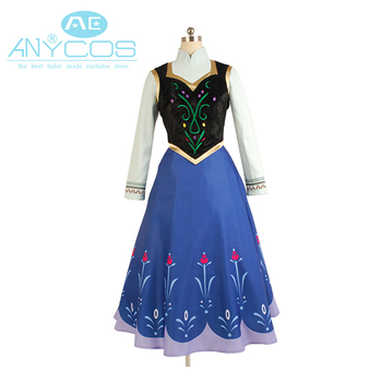 Hot Movie Elsa Princess Anna Dress Costume Without Cloak Halloween Pary For Adult Women Girls Party Cosplay Costume Full Set