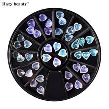5 Colors 36 pcs Heart Shape AB Rhinestone Colorful Mixes Size Color Sharp 3D Nail Art Decoration in Wheel NAR